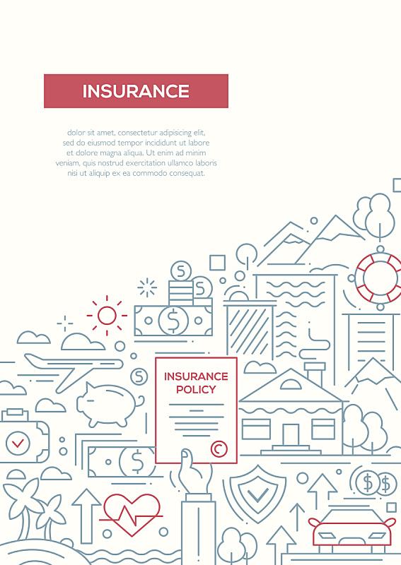 保险,线条,模板,小册子,计划书,麦克唐纳·道格拉斯f-4,保险代理人,信息图表,银行业