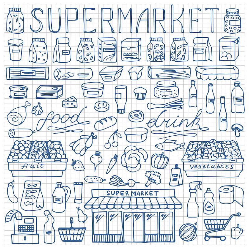 超级市场,乱画,动物手,收银机,饮料,蔬菜,贺卡,纺织品,传单,动物图案
