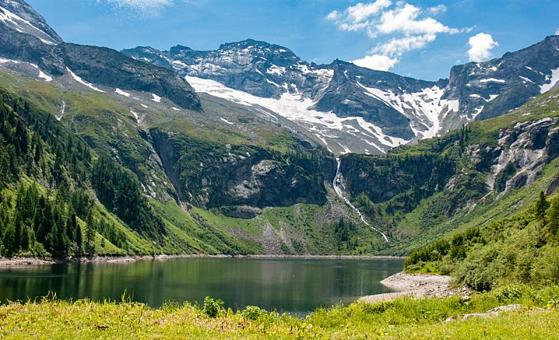 湖,奥地利,山,水,天空,水平画幅,绿色,雪,无人,蓝色