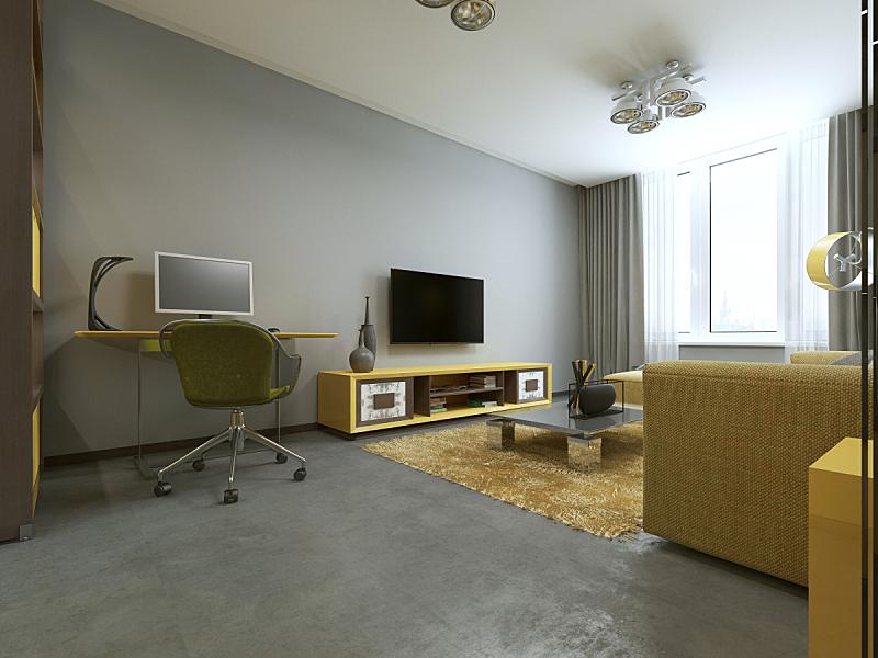 现代,桌子,起居室,办公室,水平画幅,无人,架子,地毯,家具,居住区