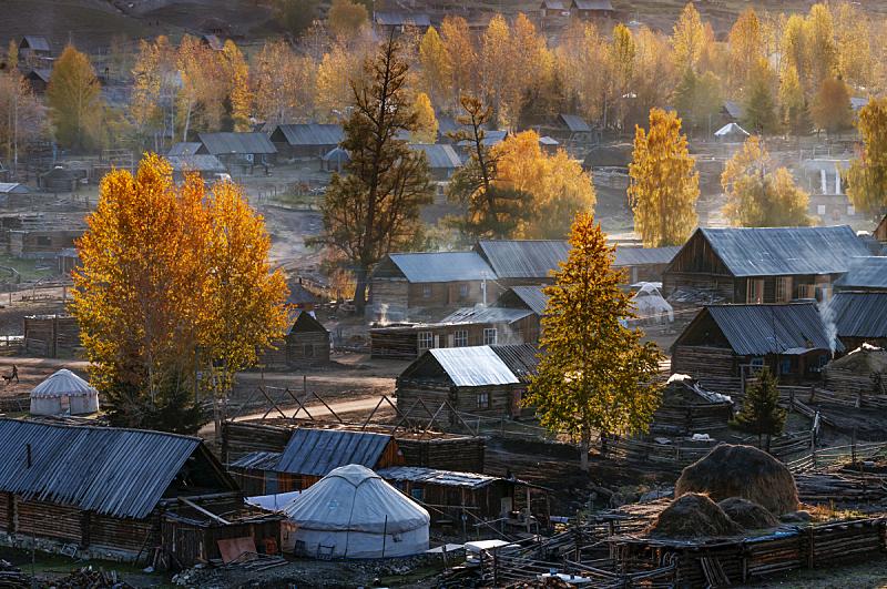 自然保护区,中国,禾木,布基尼,天然气田,冰河,无人,水平画幅,秋天,河流