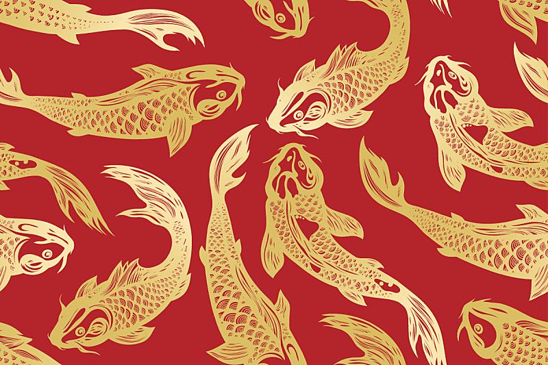 四方连续纹样,鲤鱼,锦鲤,背景分离,纺织品,野生动物,丰富,动物群,池塘,动物
