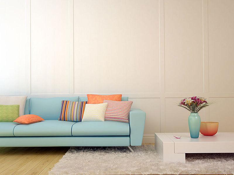装饰物,起居室,极简构图,水平画幅,墙,无人,家庭生活,地毯,家具,沙发