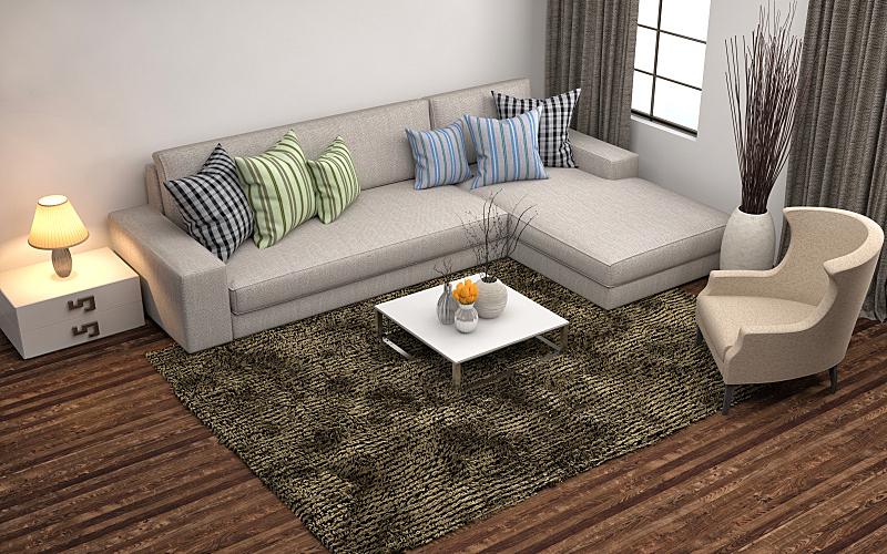 沙发,室内,三维图形,绘画插图,住宅房间,水平画幅,无人,蓝色,装饰物,家具