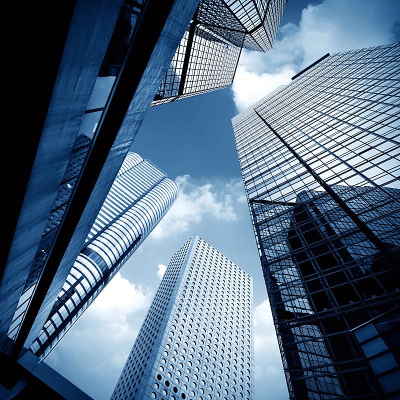 银行,银行业,高个子,建筑外部,办公楼外观,负冲效果,空中走廊,未来,外立面,无人