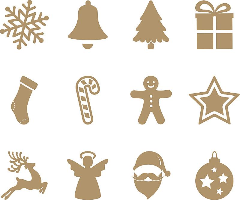 计算机图标,黄金,铃,姜饼蛋糕,天使,球体,背景分离,圣诞帽,雪