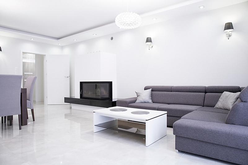 灰色,白色,室内,计划书,华贵,舒服,软垫,地板,椅子,沙发