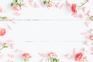 木制,粉色,视角,背景聚焦,平铺,在上面,白色,留白,边框,水平画幅