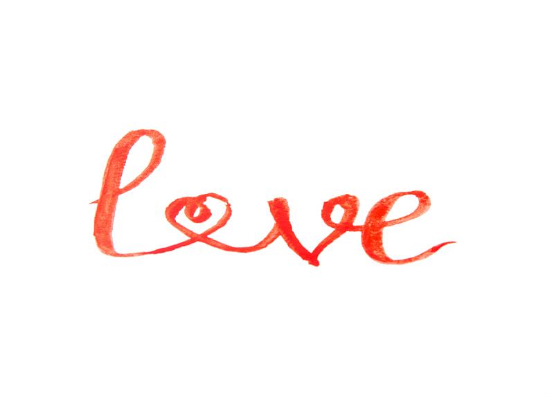 涂料,红色,水彩画,单词,贺卡,背景分离,热情,浪漫,节日,绘画插图