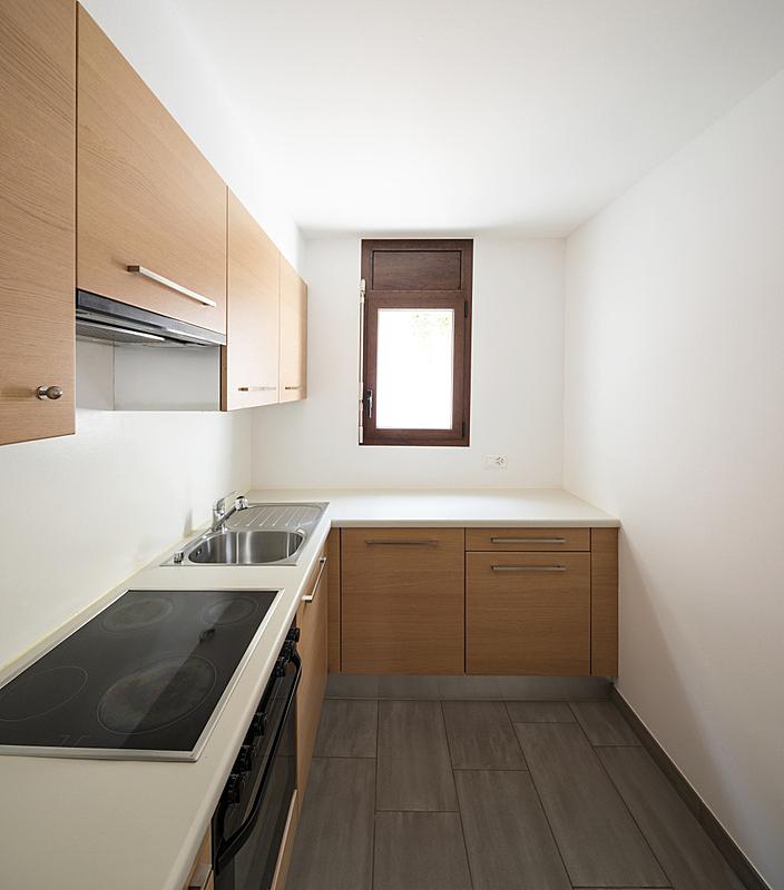 现代,白色,窗户,木制,厨房,墙,小的,垂直画幅,正面视角,留白