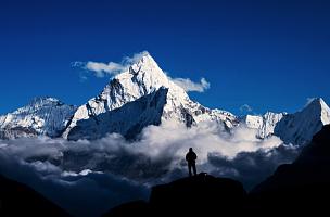 珠穆朗玛峰,徒步旅行,山,男人,喜马拉雅山脉,顶部,背包族,山顶,尼泊尔,在上面