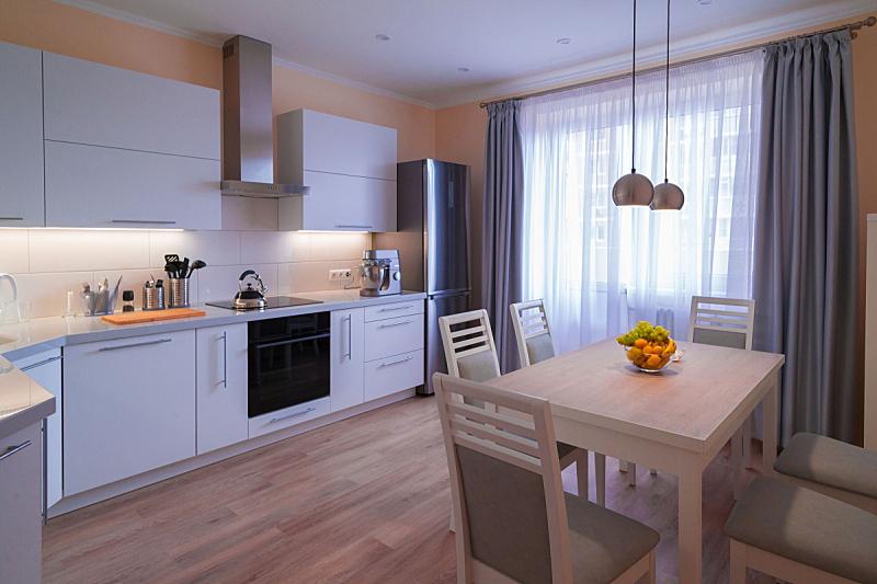室内,现代,白色,彩色图片,厨房,灰色,米色,木制,塑胶,层合塑料