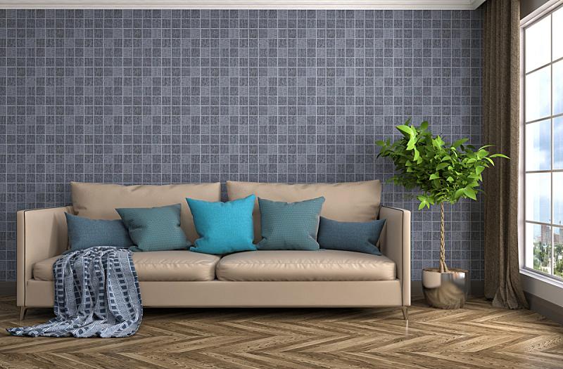 沙发,室内,三维图形,绘画插图,住宅房间,水平画幅,墙,无人,蓝色,装饰物