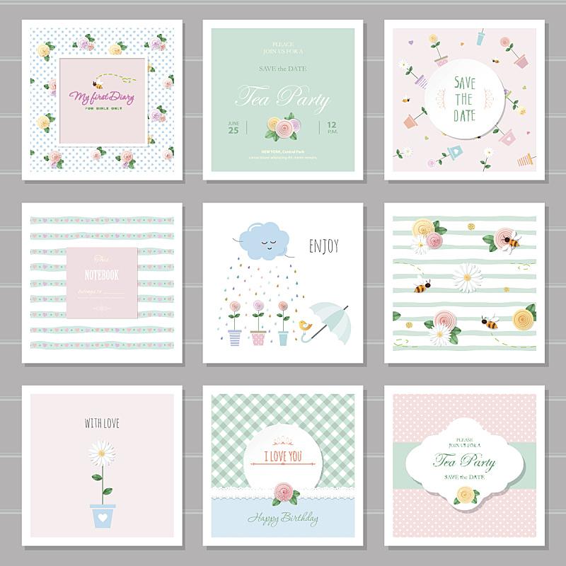 华丽的,贺卡,生日,可爱的,笔记本,情人节卡,女孩,婚礼,覆盖,花