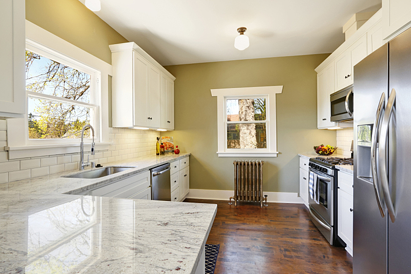 住宅房间,室内,厨房,绿色,白色,清新,新的,水平画幅,无人,巨大的