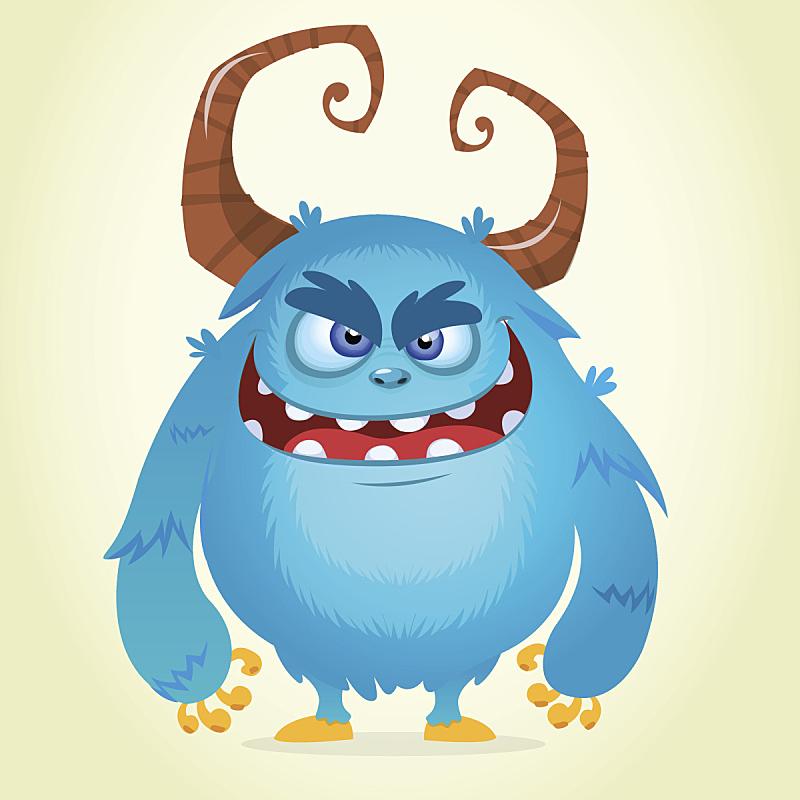 有角的,卡通,怪物,矢量,蓝色,狂怒的,萨斯科奇人穿行标志,基因突变,韩国流行音乐
