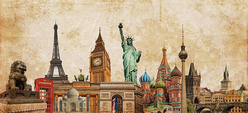 明信片,旅游目的地,国际著名景点,地球形,概念,背景,旅游,旅行,学习,摄影