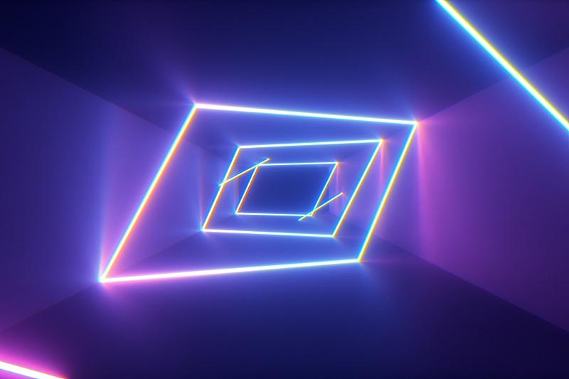 隧道,背景,三维图形,蓝色,未来,抽象,永远,线条,发光,飞