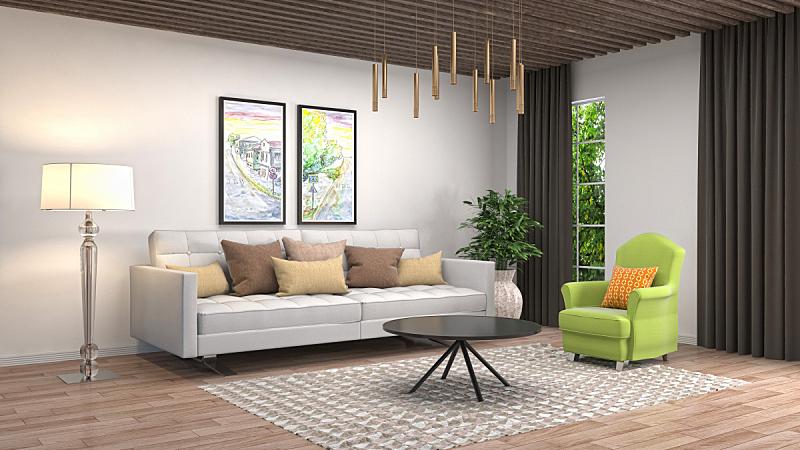 室内,起居室,绘画插图,三维图形,褐色,座位,水平画幅,无人,灯,家具