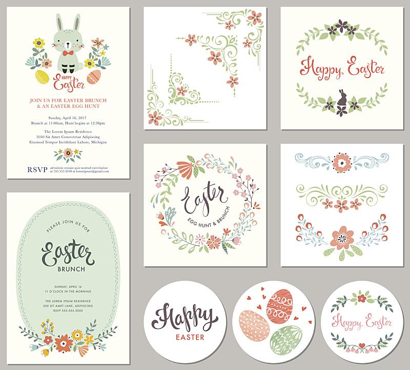复活节,复活节兔子,小兔子,兔子,花纹,角落,贺卡,乡村风格,请柬,生日