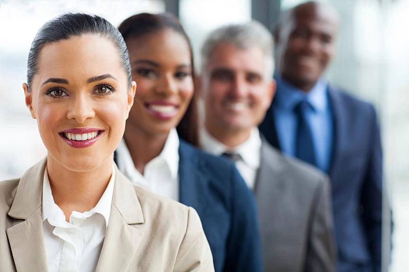 人群,商务,成一排,团队,办公室,水平画幅,工作场所,套装,白人,非裔美国人