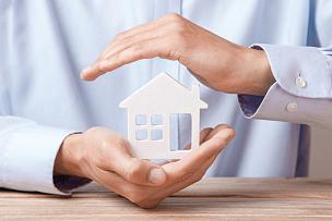 家庭保险,手,房屋,男人,概念,入室行窃,水平画幅,符号,房地产经纪人,男商人