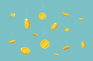 绘画插图,黄金,矢量,平坦的,存钱罐,古代,比特币,雨,储蓄,金融