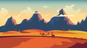 矢量,秋天,平坦的,风景插画,绘画插图,野外动物,计算机制图,计算机图形学,光,彩色图片