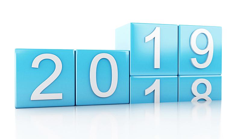 新年前夕,2019,三维图形,新的,水平画幅,形状,绘画插图,符号,计算机制图
