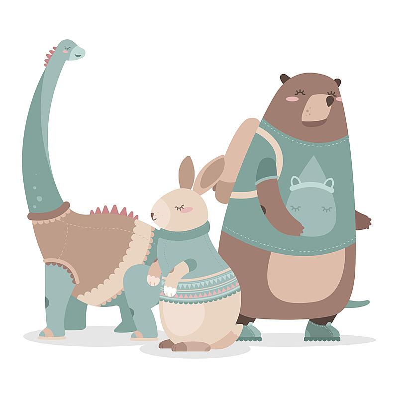 可爱的,动物,兔子,熊,恐龙,猴子,斑马,野生动物,浣熊,动物家庭