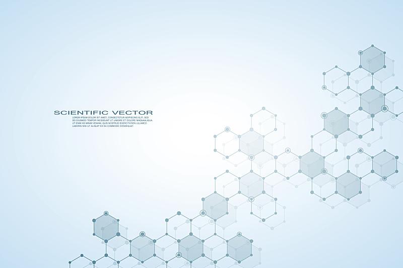 六边形,分子,分子结构,脱氧核糖核酸,科学,神经元,健康保健,绘画插图,矢量,背景