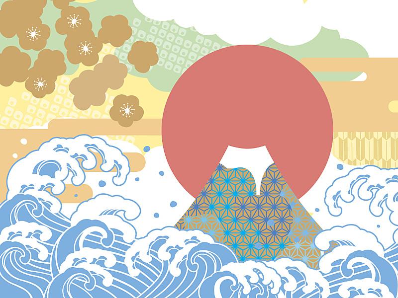 海洋,绘画插图,运气,富士山,和服,波形,新年,波浪,日本,春节