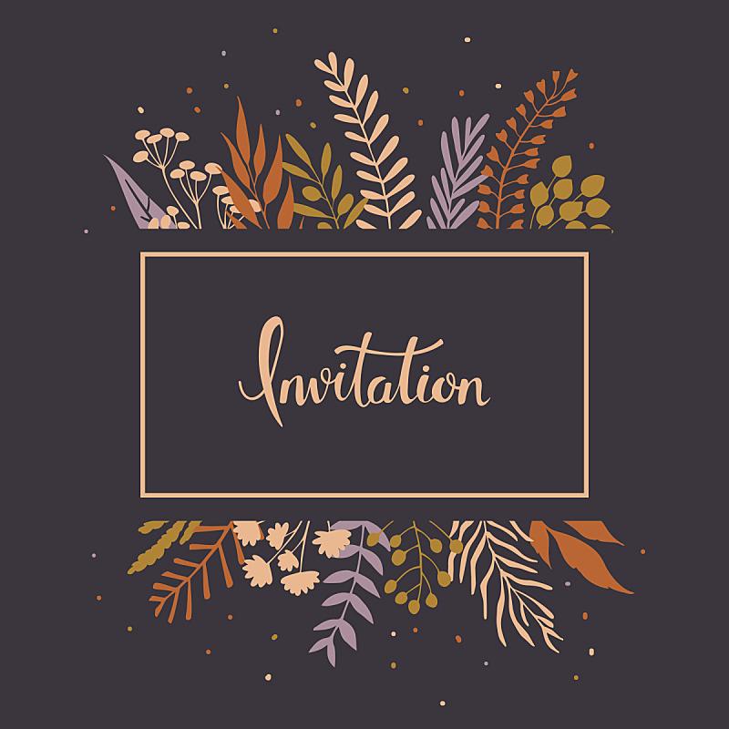 请柬,叶子,嫩枝,枝,秋天,乡村风格,迷迭香,月桂花冠,草地,橄榄