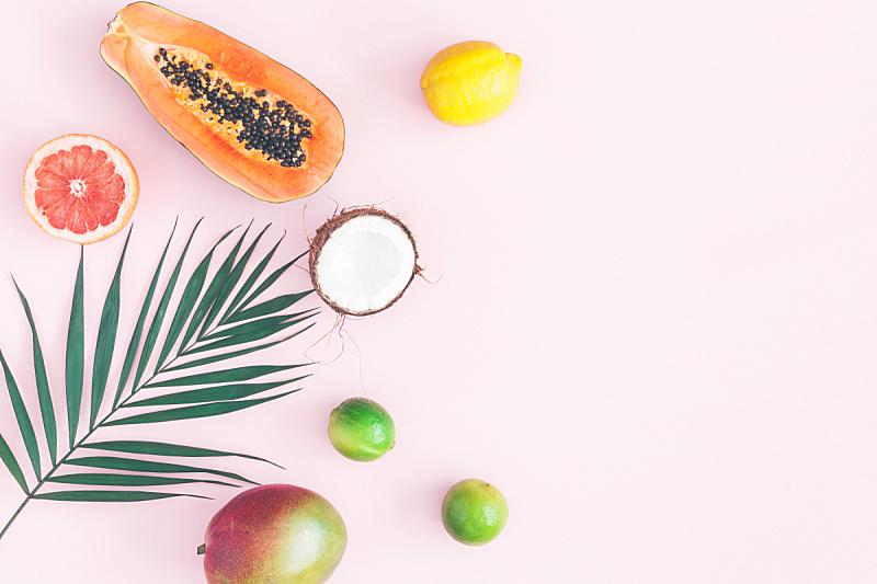 绿色,棕榈叶,在上面,热带水果,平铺,风景,留白,素食,夏天,棕榈树