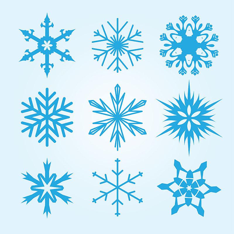 绘画插图,雪花,矢量,式样,数字9,反差,华丽的,一月,雪,剥落