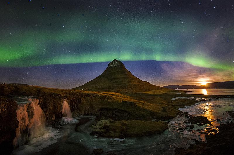 北极光,星迹,水平画幅,山,夜晚,瀑布,河流,湖,岛,鬃毛