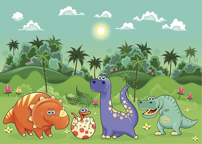 恐龙,幽默,森林,山,拟人笑脸,绘画插图,性格,热带雨林,卡通,三角龙