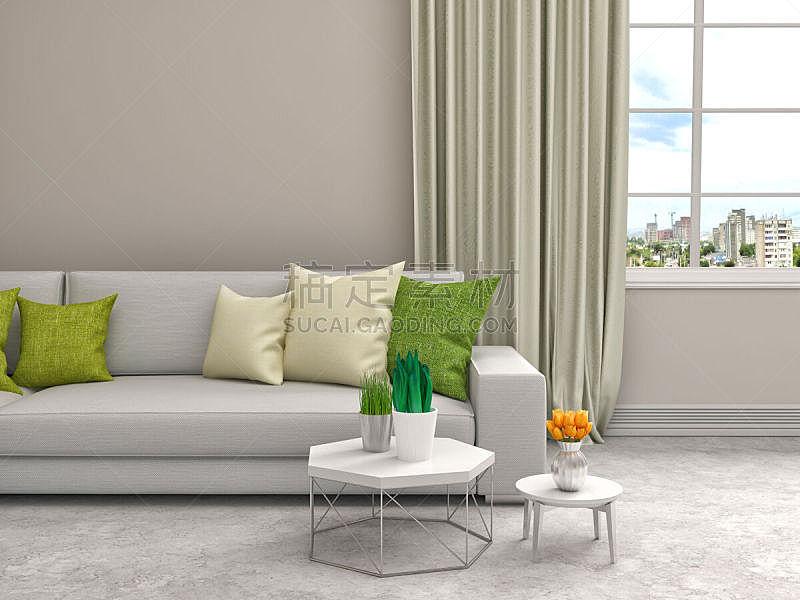 沙发,室内,绘画插图,白色,三维图形,窗帘,住宅房间,水平画幅,无人,家具