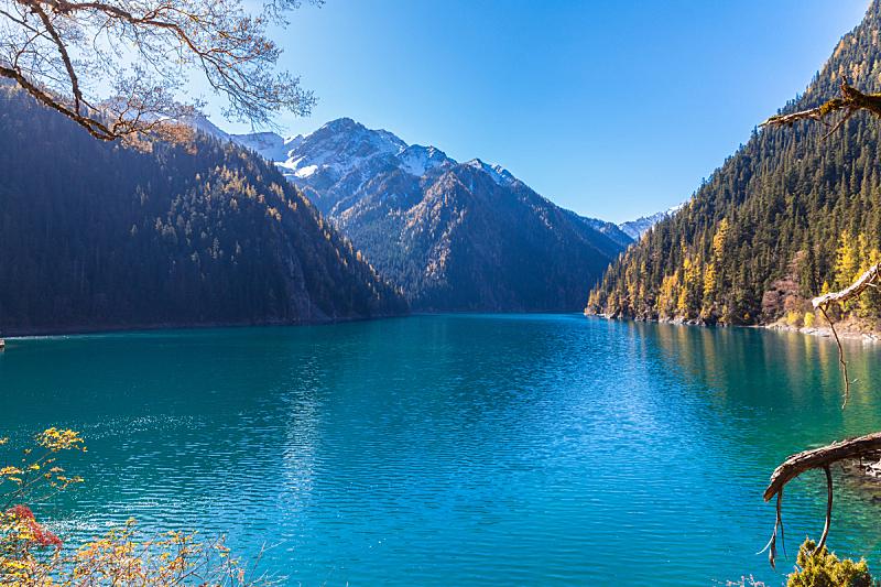 湖,自然美,九寨沟风景名胜区,九寨沟 ,成都,自然,天堂,水平画幅,秋天,雪
