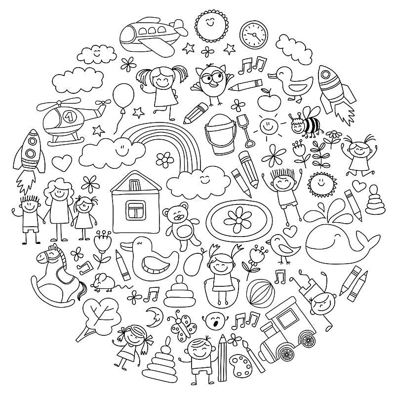 矢量,幼儿园,乱画,学龄前,儿童画,运动,直升机,女婴,铅笔,直的
