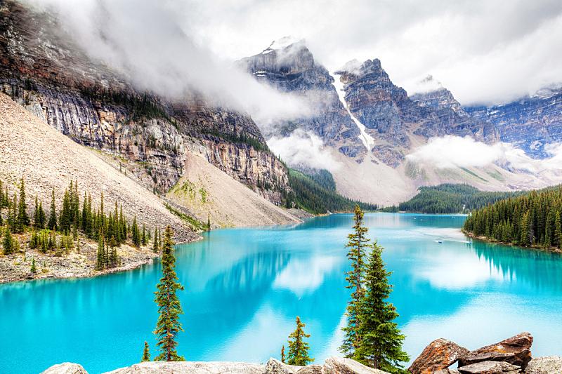 梦莲湖,露易斯湖,水,水平画幅,雪,阿尔伯塔省,无人,户外,湖,云景