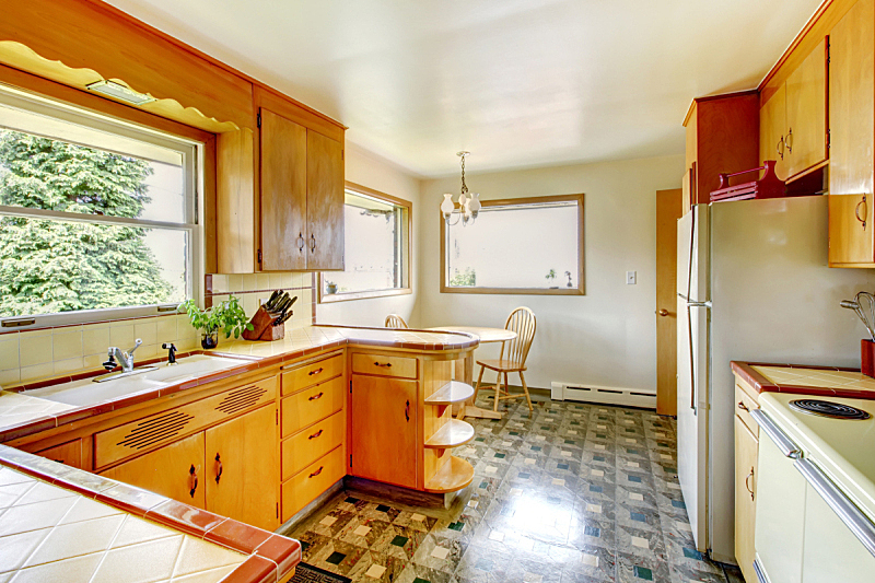 乡村风格,厨房,器材箱,柜子,漆布,亚麻油毡版画,水平画幅,无人,天花板,家具