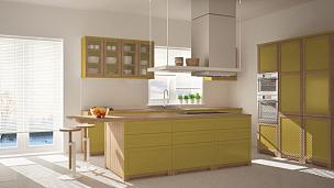 窗户,厨房,建筑,木制,极简构图,黄色,人字形图案,镶花地板,岛,室内地面