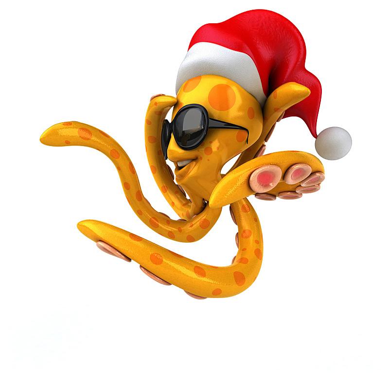 章鱼,触须,鱿鱼,自然,野生动物,水平画幅,绘画插图,水下,圣诞老人