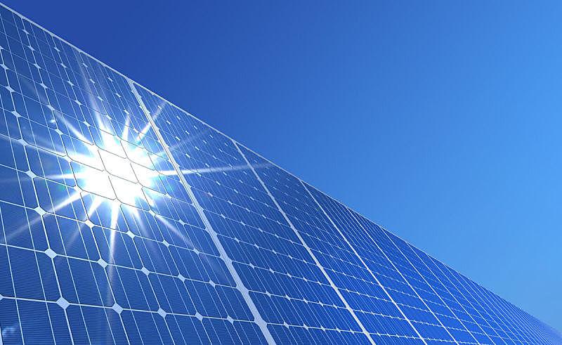 太阳能电池板,太阳能发电站,太阳能,太阳,水平画幅,能源,无人,绘画插图,全球通讯,地球形