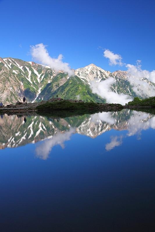 山,池塘,垂直画幅,水,天空,白马岳,里山,雪,长野县,无人