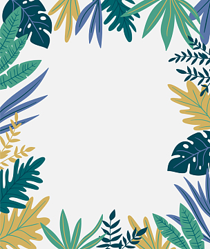 边框,叶子,时尚,矢量,手,背景,鸡尾酒,波西米亚风,雨林,蕨类