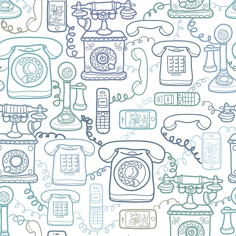 电话机,四方连续纹样,背景,电缆,绘画插图,形状,无人,古老的,古典式,电子记事本