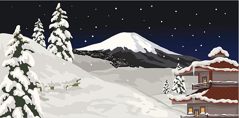 夜晚,冬天,天空,艺术,雪,无人,绘画插图,户外,庆祝