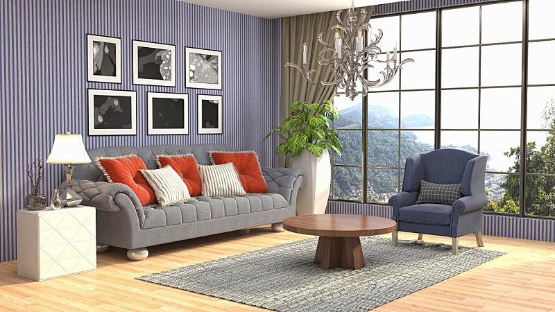 室内,起居室,三维图形,绘画插图,水晶吊灯,扶手椅,花瓶,枕头,褐色,座位